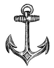 5577e - pen and ink anchor rubber stamp