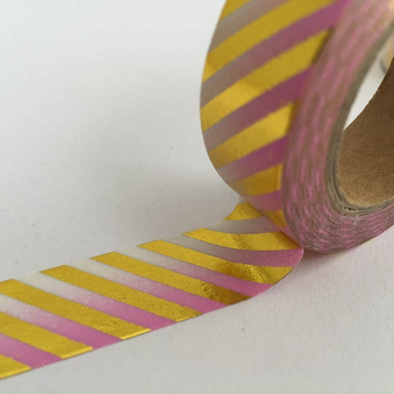 Pink Ombre Gold Foil Stripe Tape