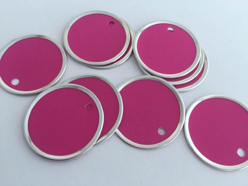 Hot Pink Circle Rim Tags