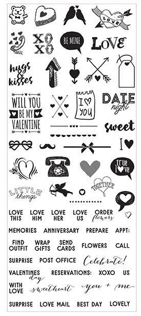 My Prima Planner - Clear Stamps 3inX7in - Valentines Day Mini Icons & Words