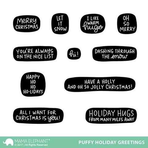 Mama Elephant Puffy Holiday Greetings