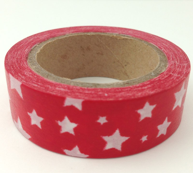 Red with White Star Washi Tape