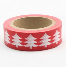 Red with white trees washi tape