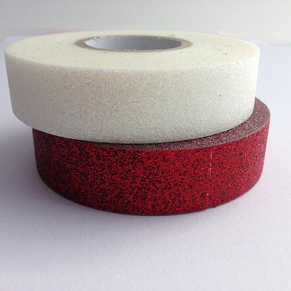 red and white glitter tape
