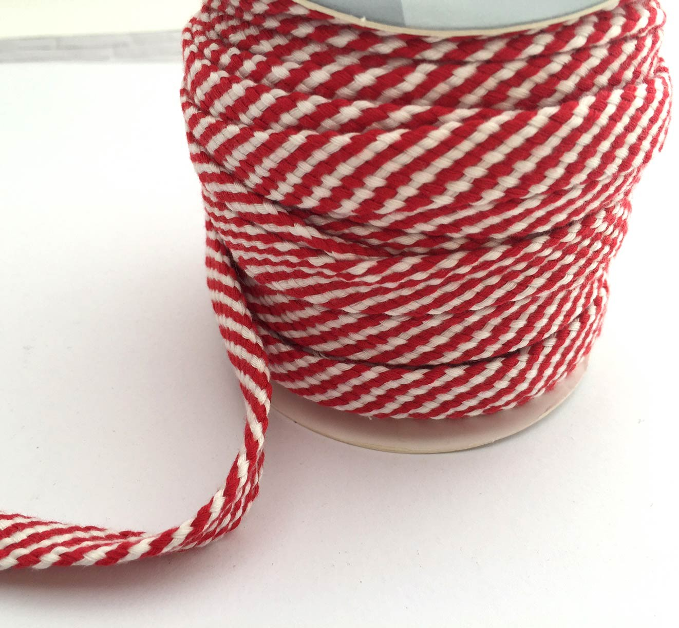 Red and White Woven Ribbon
