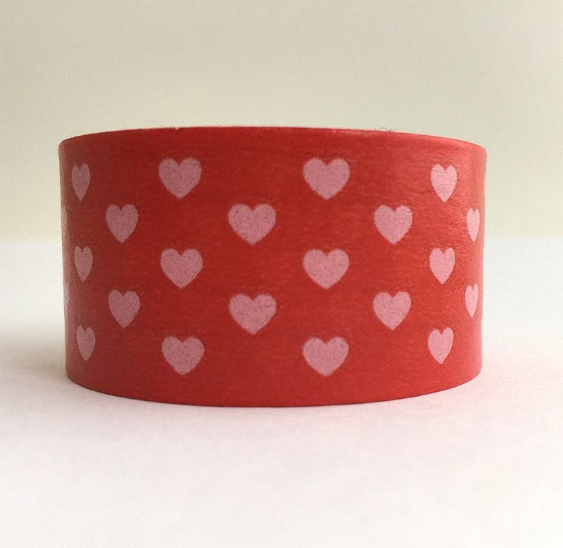 Wide Red Heart Washi Tape