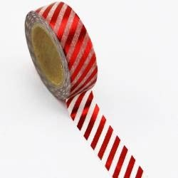 Red Foil Stripe Washi Tape
