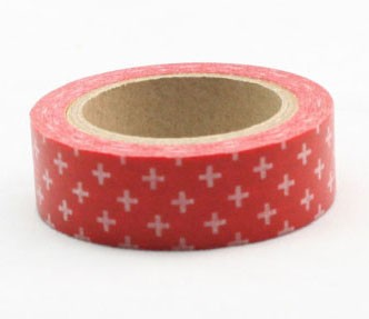 red with white crosses washi tape