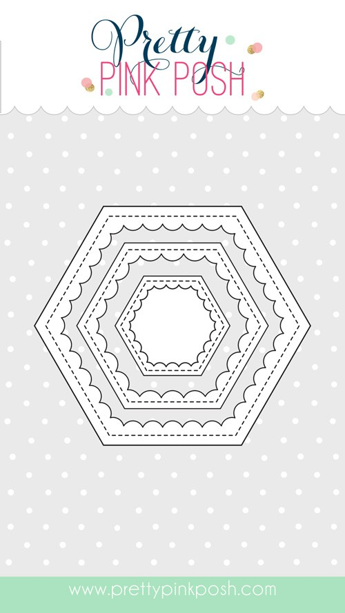 Pretty Pink Scallop Hexagons Die