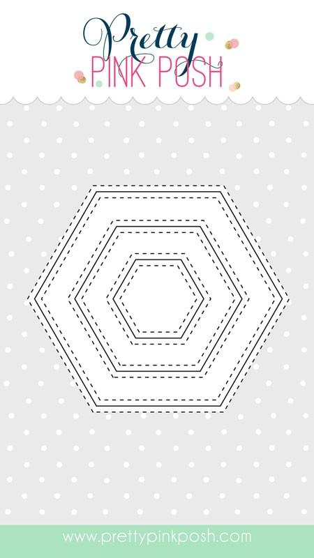 Pretty Pink Posh Stitched Hexagons Dies