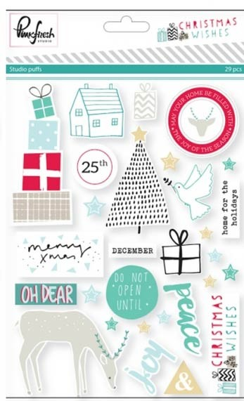Pink Fresh Christmas Wishes stickers