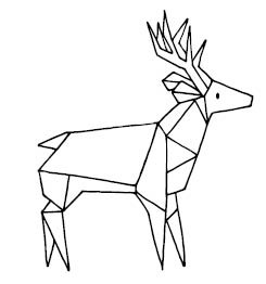 5663f - Triangle Deer Rubber Stamp