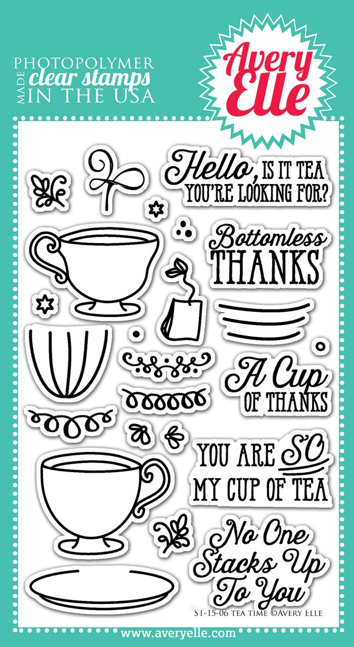 avery elle tea time clear stamps