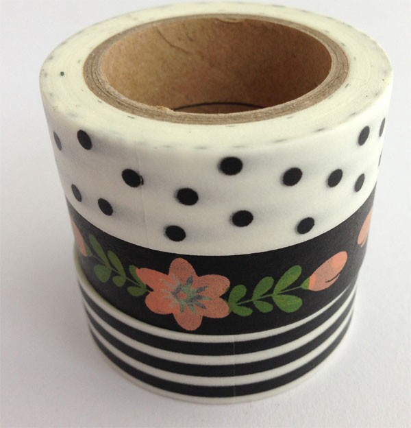 Washi tape trio - black stripe, floral, dotted