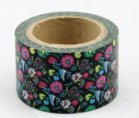 Wide black floral washi tape