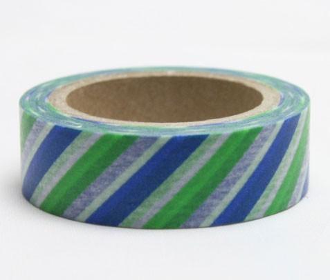 Blue and Green Stripe Washi Tape