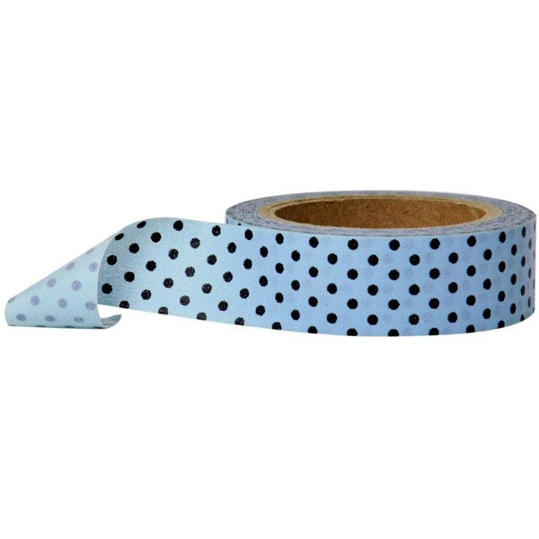 blue with black dots washi tape
