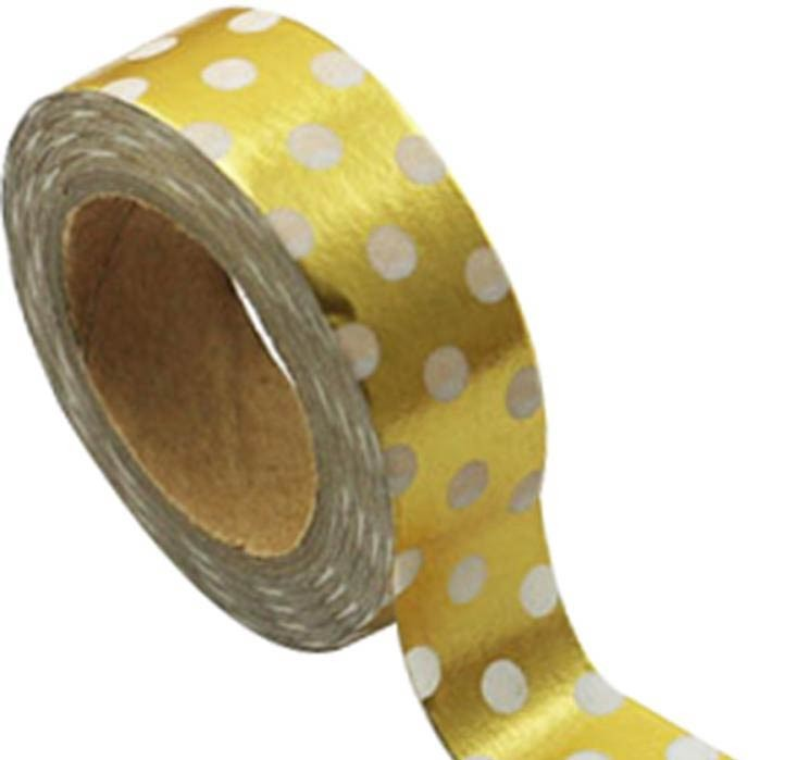 Gold Foil with White Dots Washi Tape