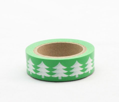 green with white trees washi tape