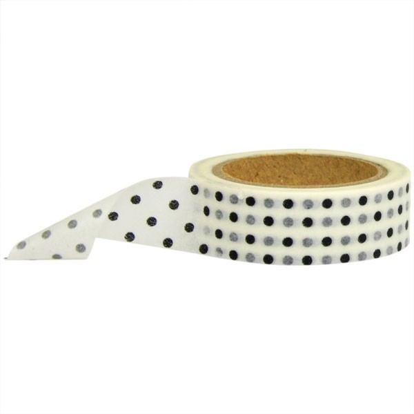 white with black dots washi tape