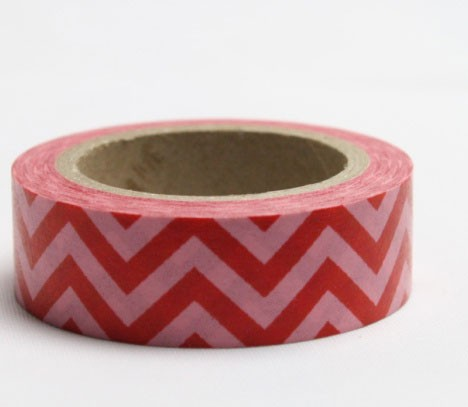 Pink and Red Chevron Washi Tape