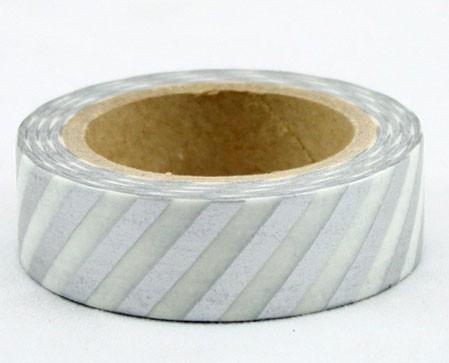 Silver Diagonal Stripe washi tape