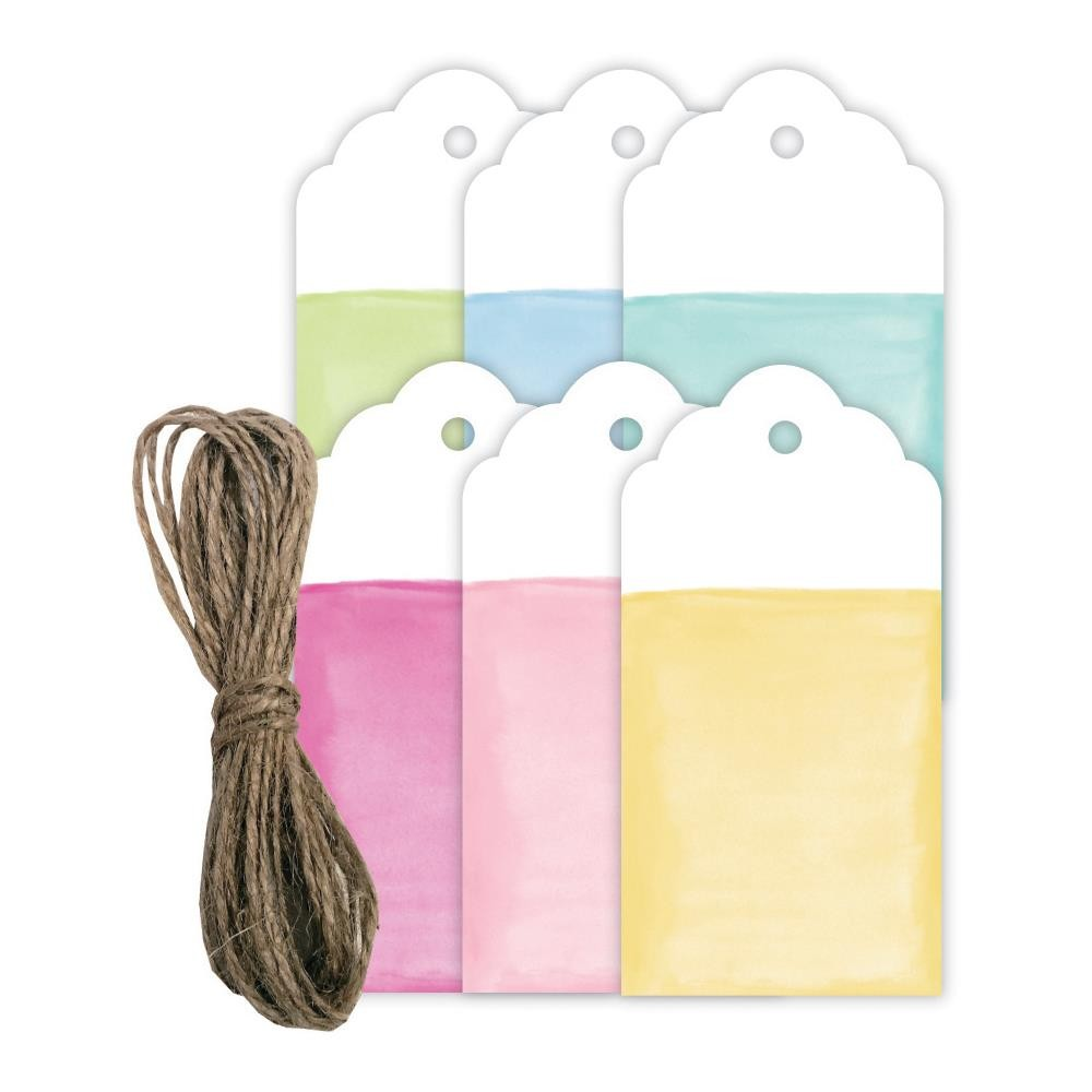 Watercolor Look Tags W/Twine