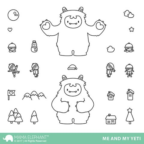 Mama Elephant Me and My Yetti Clear Stamp Set