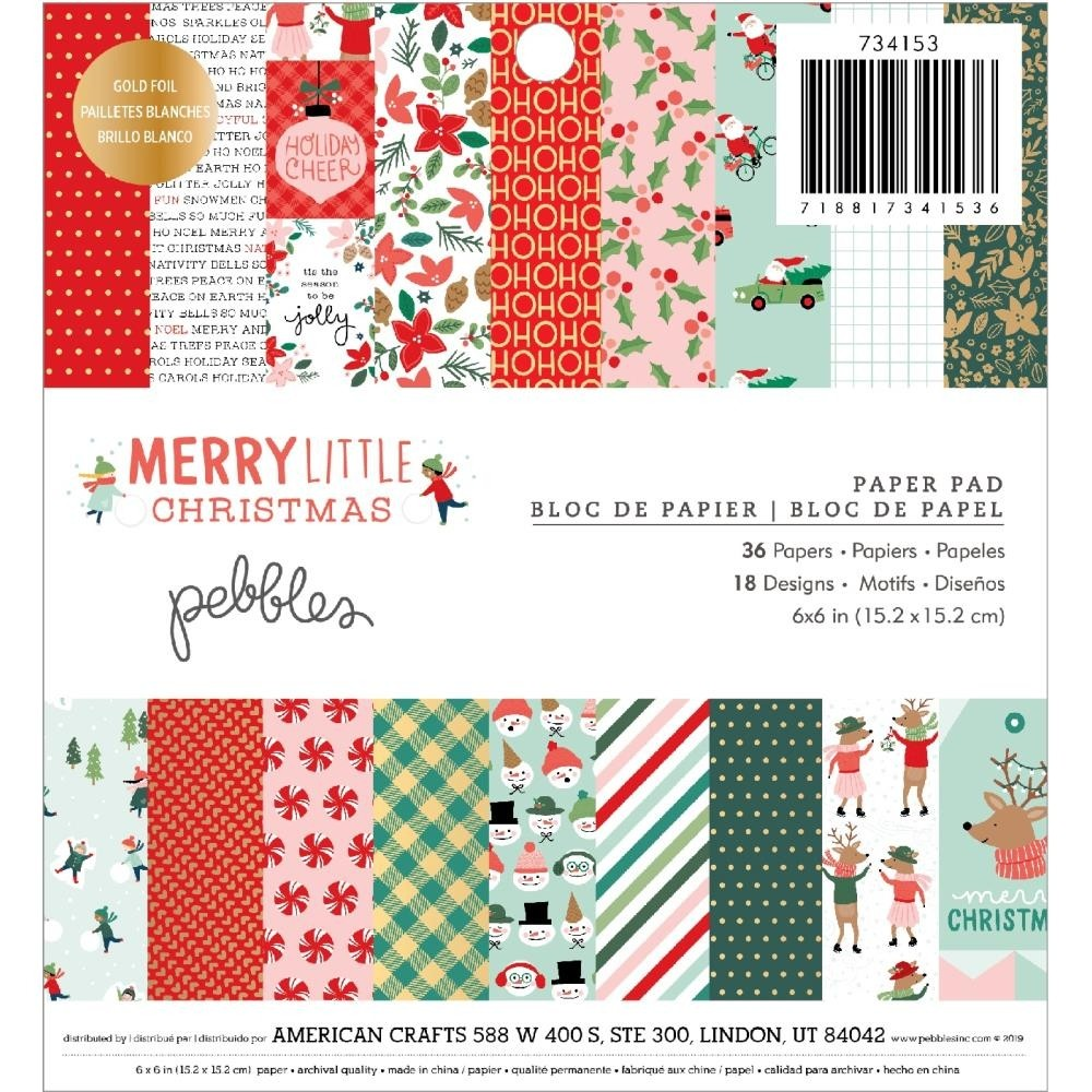 Pebbles Single-Sided Paper Pad Merry Little Christmas