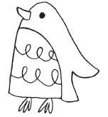 happy penguin rubber stamp (1558d)