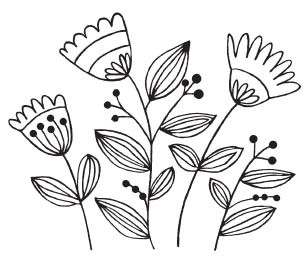 Savvy Lined Flower Cluster Stamp (1577h)