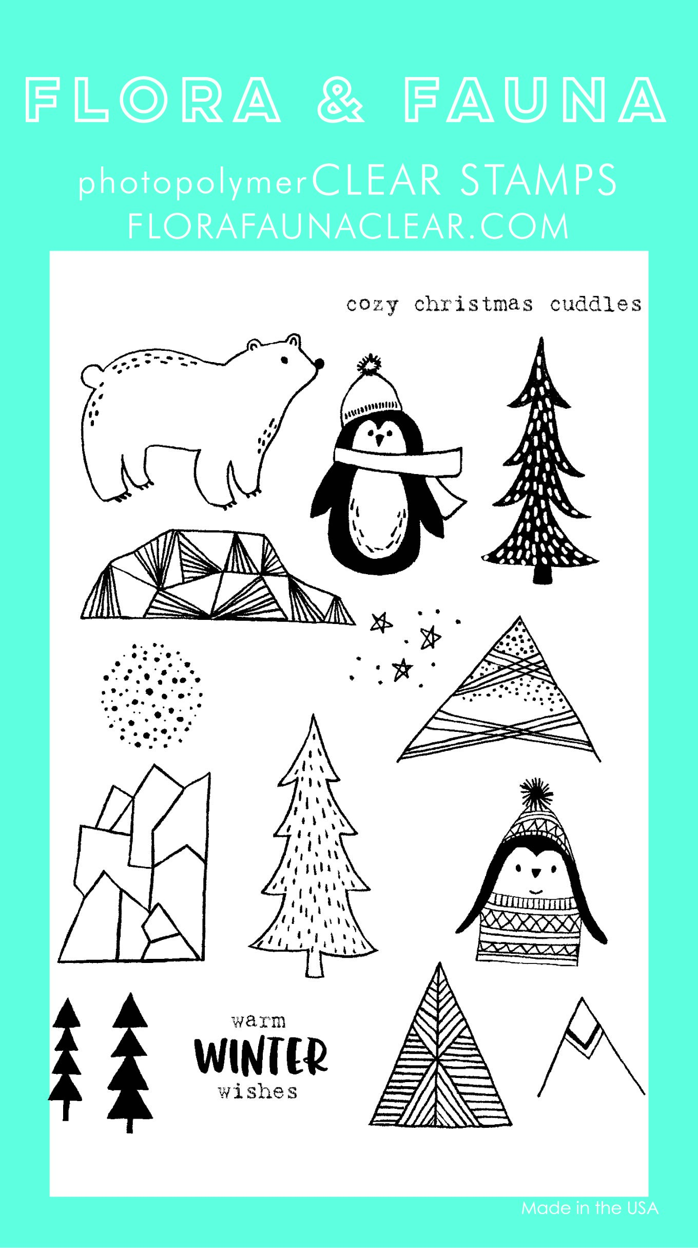 Flora & Fauna Cozy Cuddles Penguin Clear Stamp Set