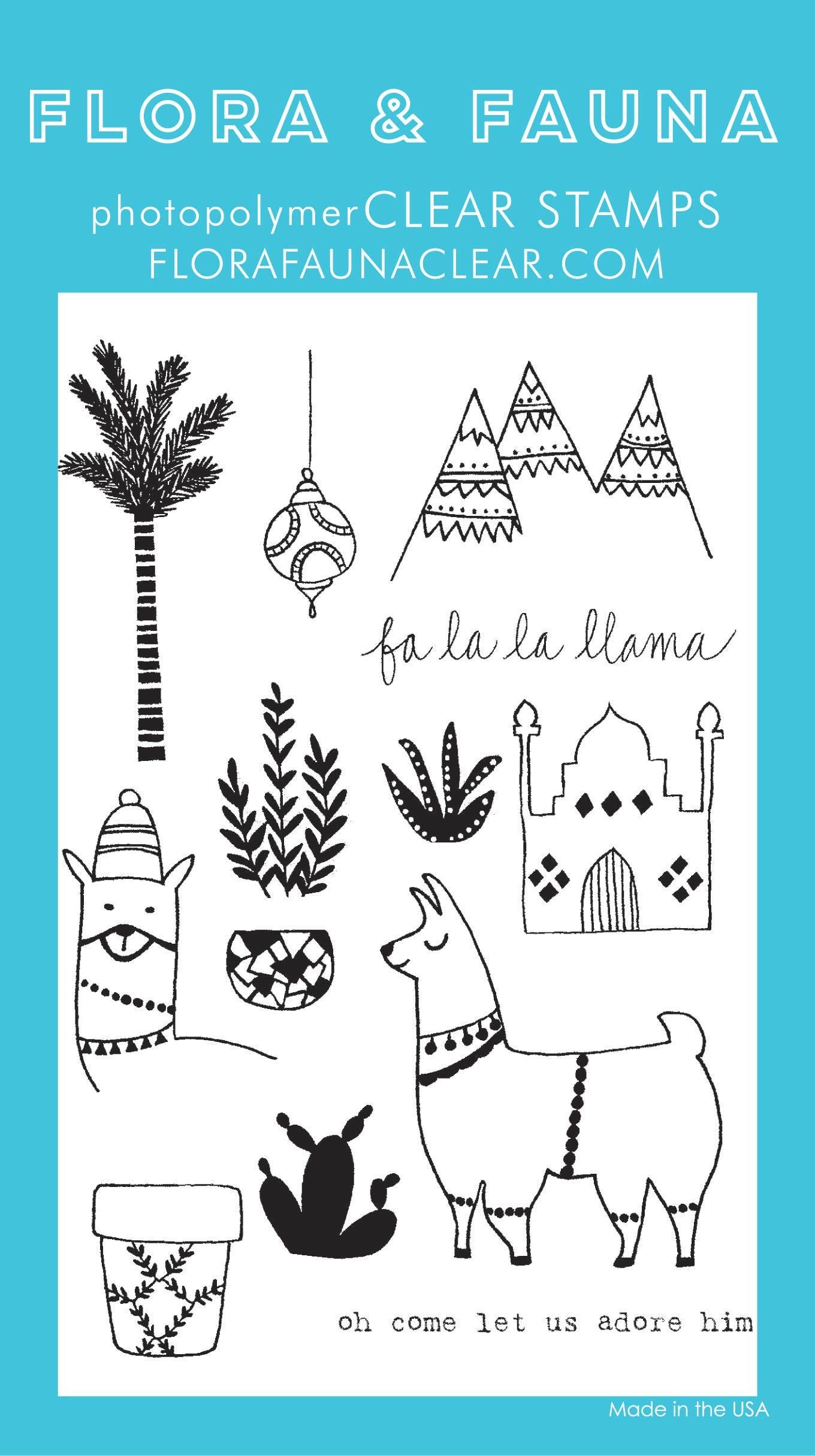 Flora & Fauna Fa La La Llama Clear Stamp Set