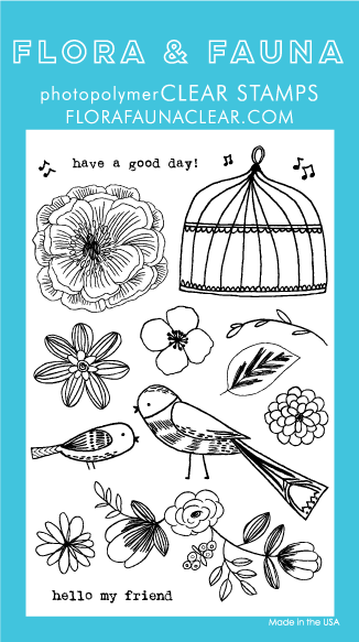 Flora and Fauna Floral Aviary Clear Stamp Set 20166