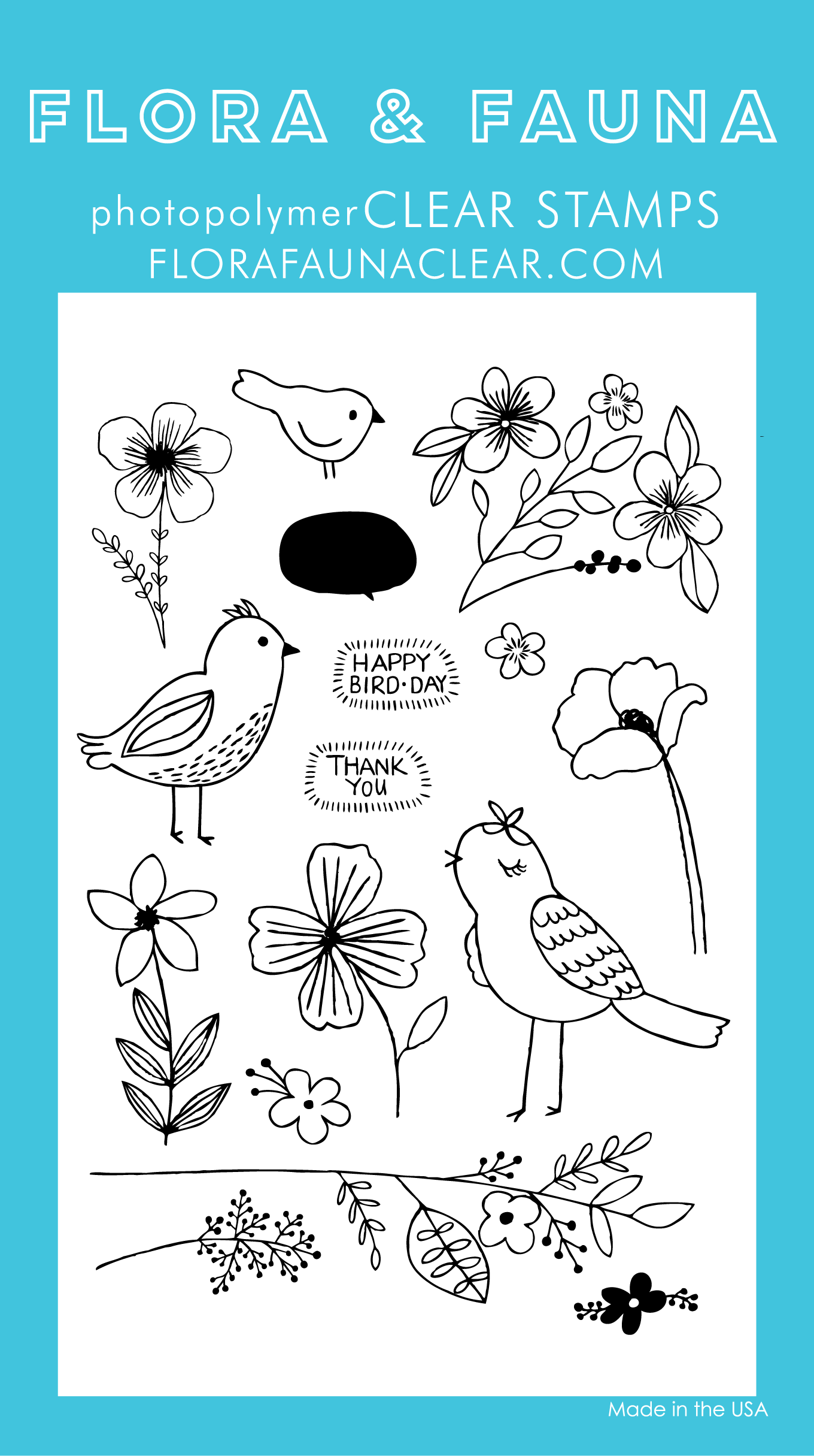 Flora and Fauna Bird Blossoms Clear Set 20215
