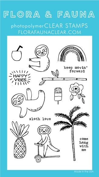 Flora and Fauna Summer Sloth Clear Stamp Set
