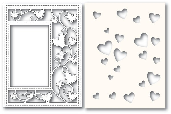 Poppy Stamps Ribbon Heart Sidekick Frame and Stencil 2152