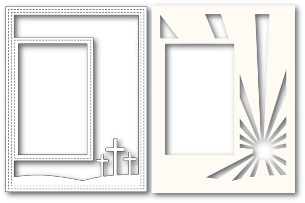 Poppy Stamps Three Crosses Sidekick Frame and Stencil 2183