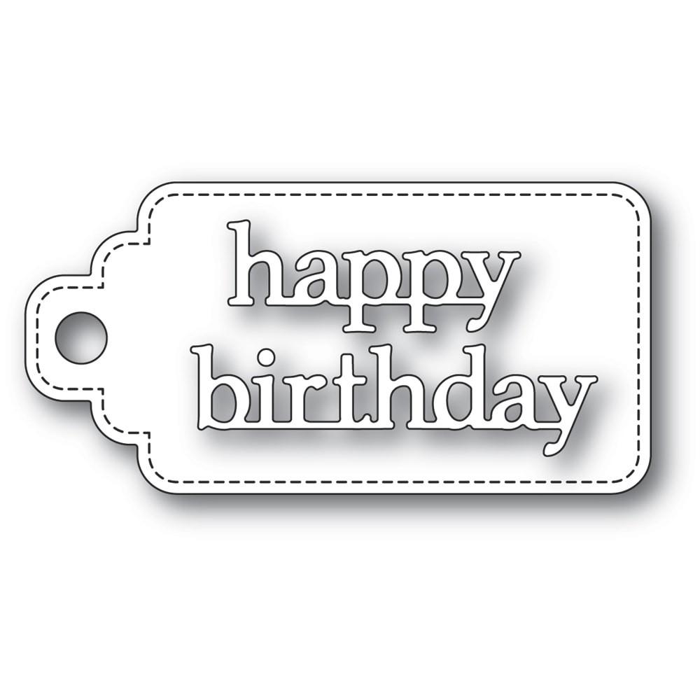 Poppystamps Happy Birthday Stitched Tag 2364