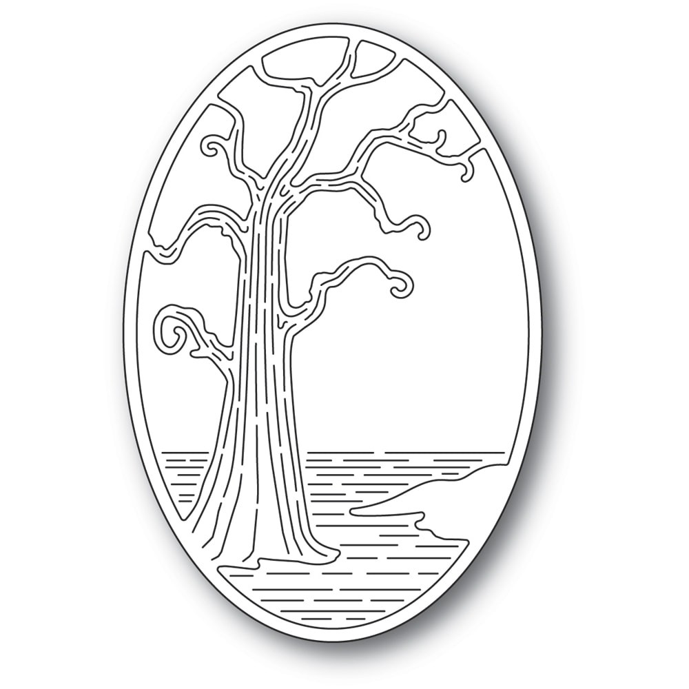 Poppystamps Twisted Tree Oval Die 2401