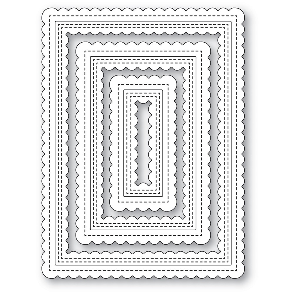 poppystamps Double Scalloped Stitched Frames 2474
