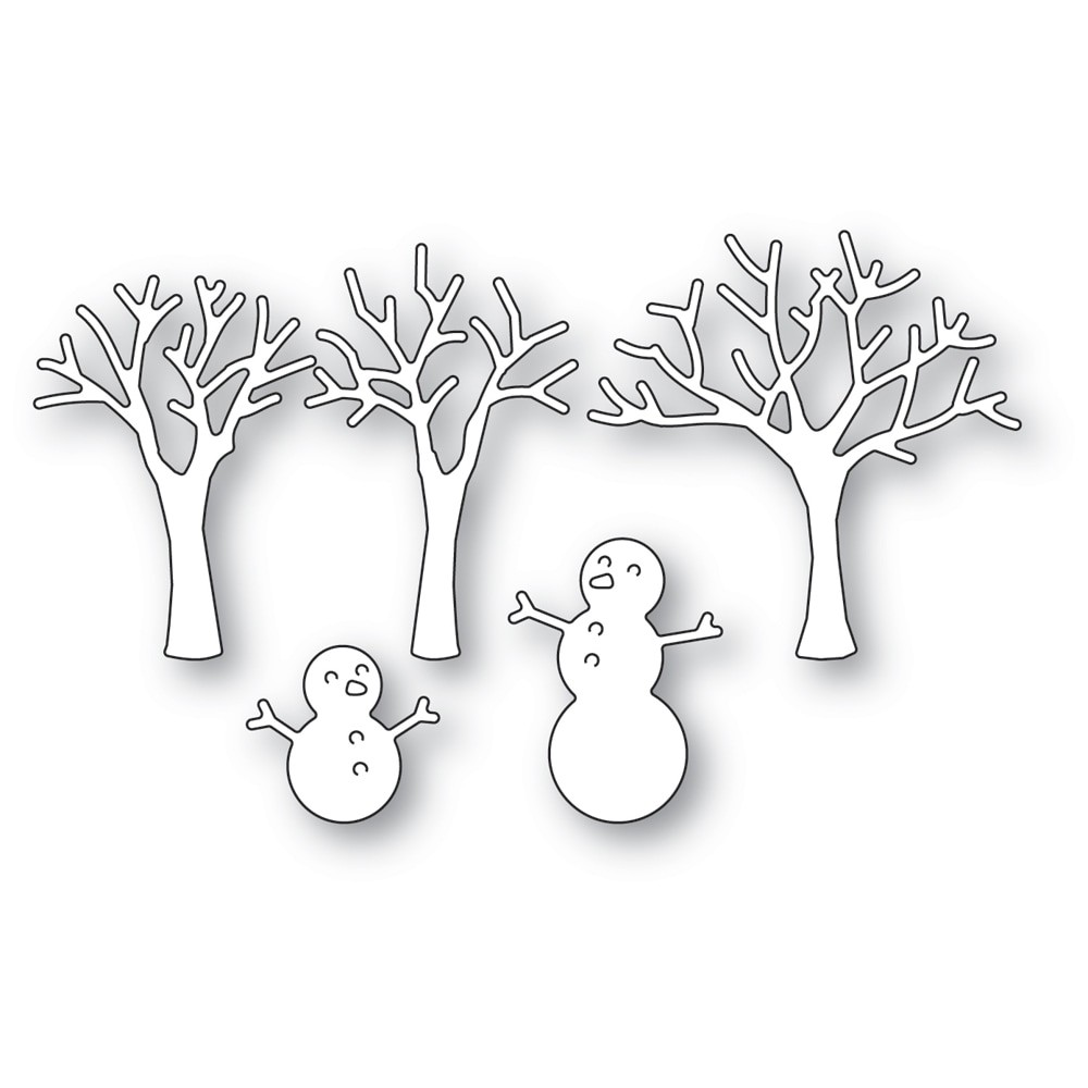 poppystamps Snowman and Trees2490