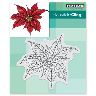Penny Black christmas poinsettia cling stamp 40-649