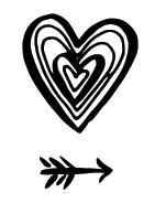 5621d - linear heart with arrow