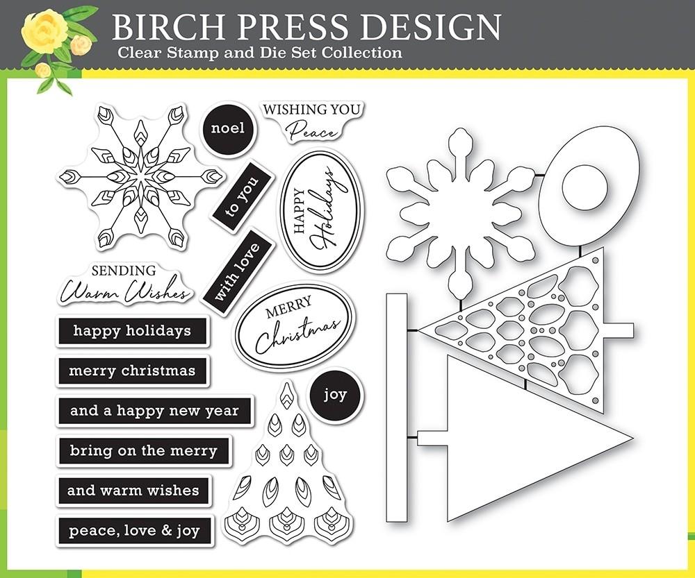 Birch Press Christmas Mandala clear stamp and die set 8161