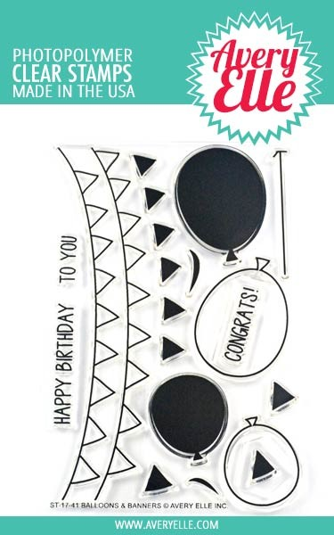 Avery Elle Balloons and Banners Clear Stamp Set