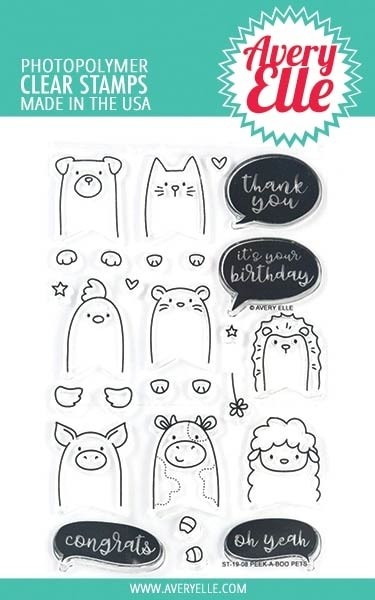 Avery Elle Peek a Boo Pets Clear Stamp Set