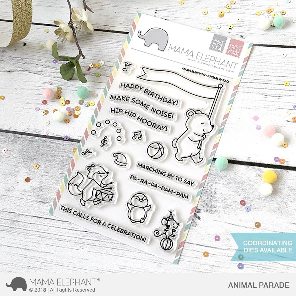 Mama Elephant Animal Parade Clear Stamp Set and matching dies