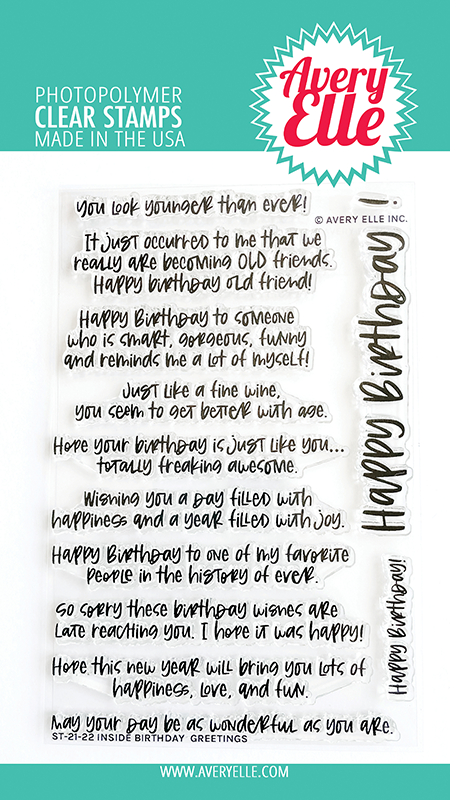 Avery Elle Inside Birthday Greetings Clear Stamps ST2122