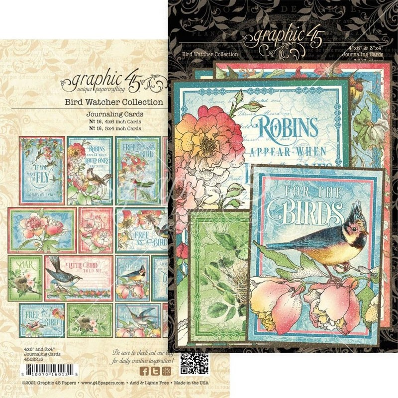 Graphic 45 Bird Watcher Ephemera & Journaling Cards